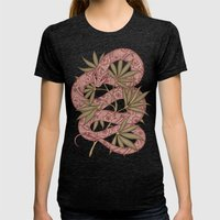 The snake Womens Fitted Tee Tri-Black SMALL