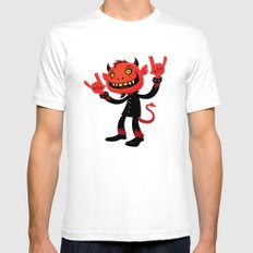 Heavy Metal Devil SMALL Mens Fitted Tee White