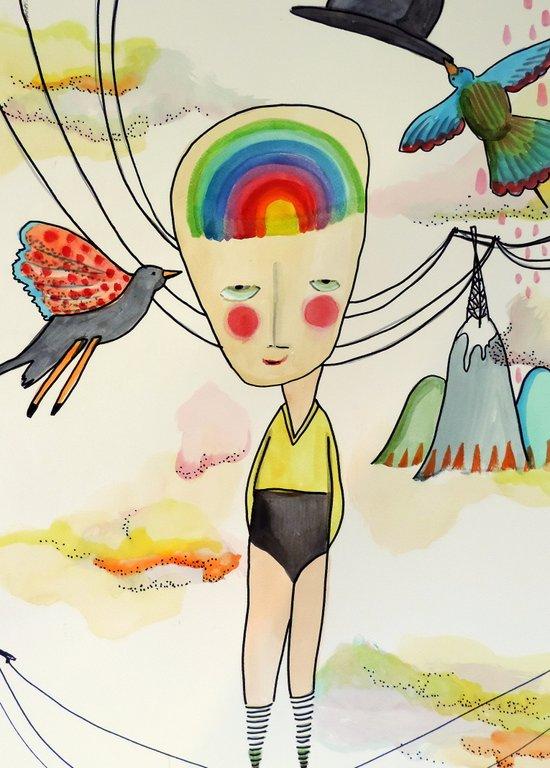 une vie dans la tête Art Print