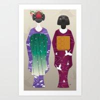 Geisha Maiko Winter Art Print