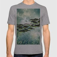 Fish Shoal Mens Fitted Tee Athletic Grey SMALL
