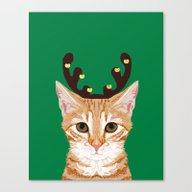 Tabby Cat Reindeer Costu… Canvas Print