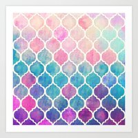 rainbow Art Prints featuring Rainbow Pastel Watercolor Moroccan Pattern by micklyn