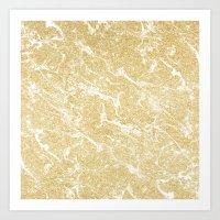 Modern faux gold glitter stylish marble effect Art Print