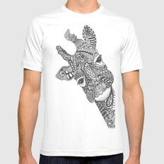 Zentangle Giraffe White SMALL Mens Fitted Tee