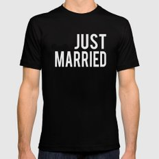 just married block font Mens Fitted Tee Black SMALL