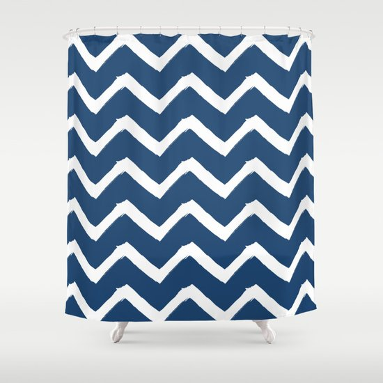 Blue Chevron Shower Curtain