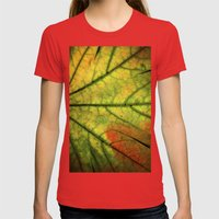 Fall Leaf II Womens Fitted Tee Red SMALL