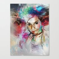 Girl with Multi-Colored Hair Canvas Print