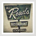 Al Read's Restaurant Vintage Sign Art Print