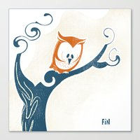 Little Owlet In A Tree Canvas Print