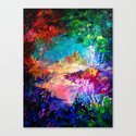 WELCOME TO UTOPIA Bold Rainbow Multicolor Abstract Painting Forest Nature Whimsical Fantasy Fine Art Canvas Print
