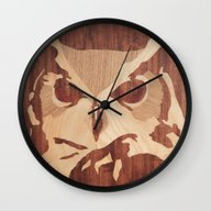Owl Marquetry Wall Clock