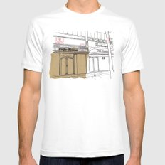 Cafe Roma. Mens Fitted Tee White SMALL