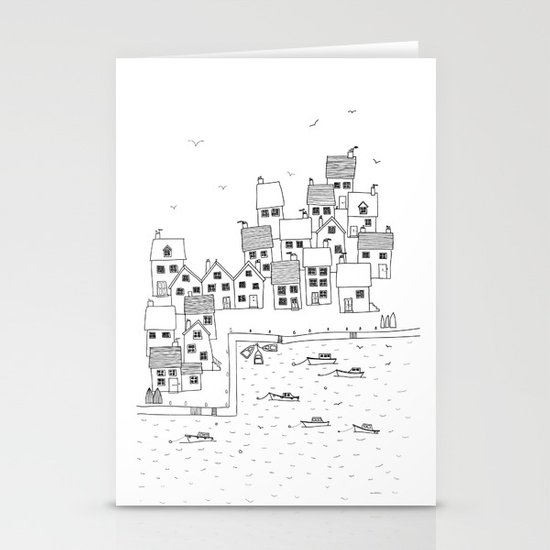 Harbour sketch Stationery Card