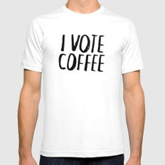 I Vote Coffee SMALL White Mens Fitted Tee