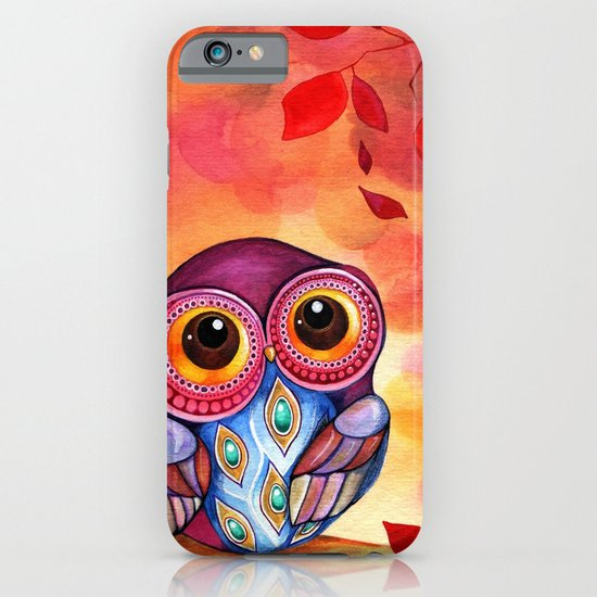 Owl's First Fall Leaf iPhone & iPod Case