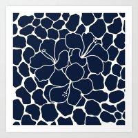 Hibiscus Flower Animal Print Navy  Art Print