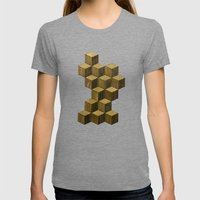 Optical wood cubes Womens Fitted Tee Tri-Grey SMALL