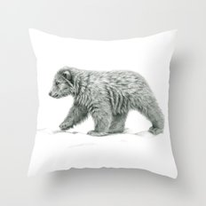 Polar bear's cub   B/W bis G2011-16 Throw Pillow