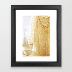 lace and rosebuds Framed Art Print