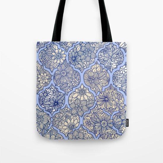 Moroccan Floral Lattice Arrangement - Purple Tote Bag