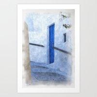 Greek Street Steps Art Print