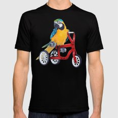 Parrot macaw on red bike SMALL Mens Fitted Tee Black