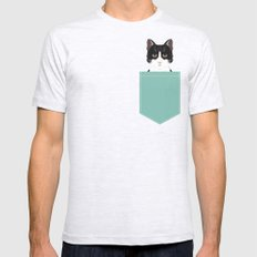 Quinn - Cute black and white cat tuxedo cat gifts for cat lady gift ideas cell phone case with cat Mens Fitted Tee Ash Grey SMALL
