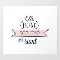 Elle prend son café en riant Art Print