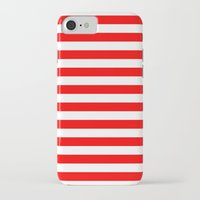 stripes iPhone & iPod Cases featuring Horizontal Stripes (Red/White) by 10813 Apparel