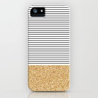 iPhone 5s & iPhone 5 Cases featuring Minimal Gold Glitter Stripes by Allyson Johnson