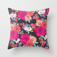 Sweet Pea Floral Black B… Throw Pillow