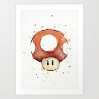 Red Mushroom Watercolor Art Print