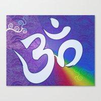Mantra ... Aom In White Canvas Print