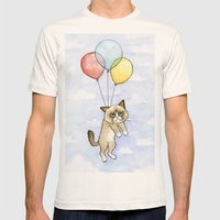 Cat With Balloons Grumpy… Mens Fitted Tee Natural SMALL