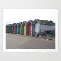 Beach Shacks, Yorkshire, United Kingdom Art Print