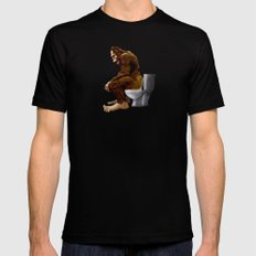 Bigfoot breaks into some Dude's Cabin and Totally takes a fat Dump in his toilet SMALL Black Mens Fitted Tee