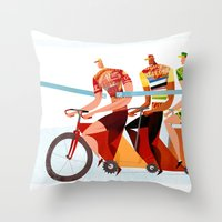 Bicycle Tour de France Tandem for Three Throw Pillow