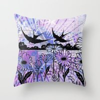 sky birds Throw Pillow