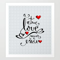 Valentine Love Calligraphy and Hearts Art Print