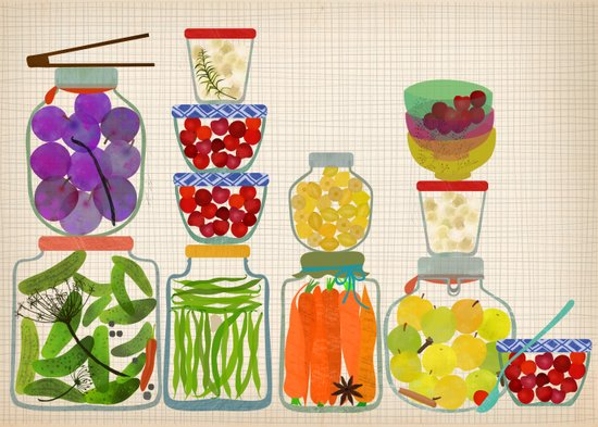 Bottled pickles and fruits Art Print