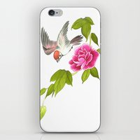 sparrow and peony iPhone & iPod Skin
