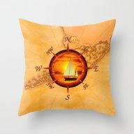 Sailboat And Compass Ros… Throw Pillow