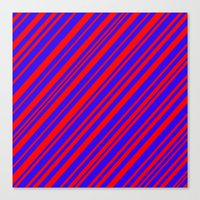 Lines 323 - Blue and Red Diagonals Canvas Print