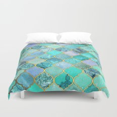 Cool Jade & Icy Mint Decorative Moroccan Tile Pattern Duvet Cover