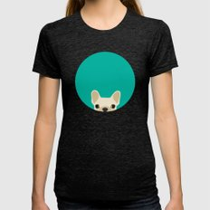 French Bulldog Womens Fitted Tee Tri-Black SMALL