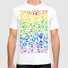 CRAZY COLOR White Mens Fitted Tee SMALL