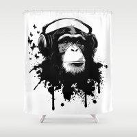 Monkey Business - White Shower Curtain