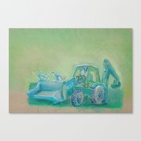 Traktor Blue Canvas Print